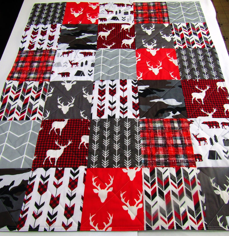 Rustic Buck Bear Antler Woodland Baby Quilt Red Minky Plaid Baby Bedding Camo Gray Hunting Baby Blanket Modern Boy Arrows
