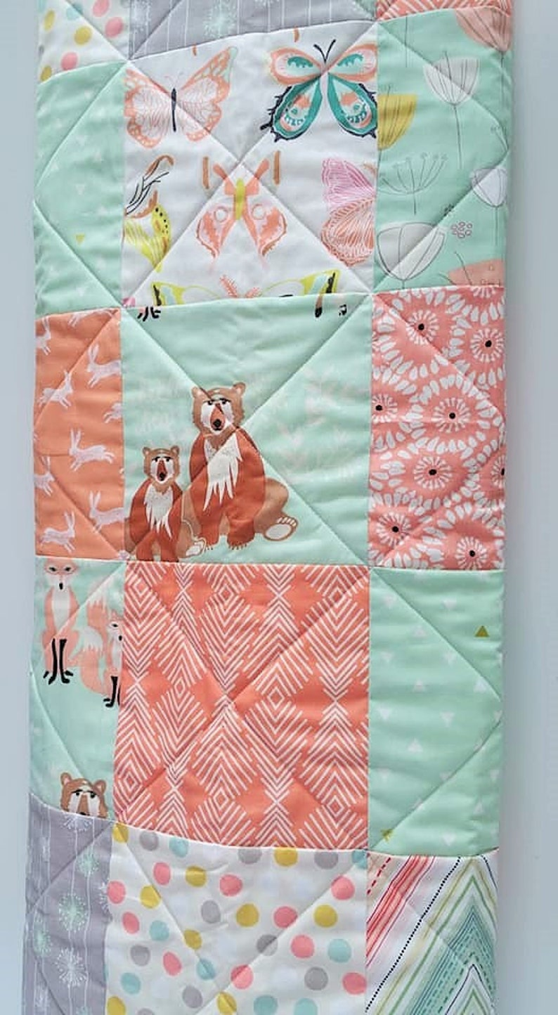 Patchwork Baby Girl Quilt-Modern Mint-Coral-Peach-Gray-Cottage Chic and Aztec Baby Blanket-Bunnies-Rabbits-Butterflies and more