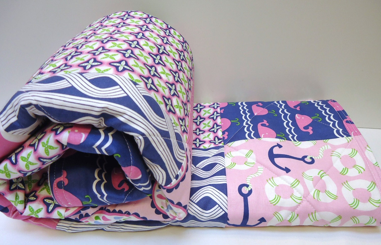 Sophisticated Modern Nautical Nursery: Nautical Baby Girl Quilt-Navy Blue And Pink Modern Crib