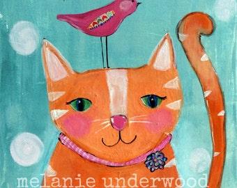 Cat painting/bird art/cat and bird painting/original painting/nursery decor/kids bedroom wall art/whimsical painting