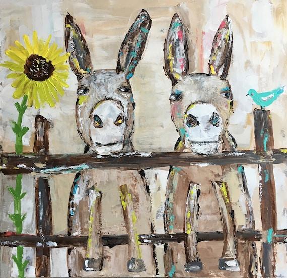 Donkey paintingfarm animal artoriginal paintingsunflower artnursery decorkids bedroom wall artbird art