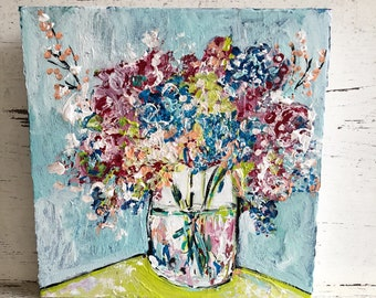 Flower painting original painting abstract flower painting floral art farmhouse decor original flower painting