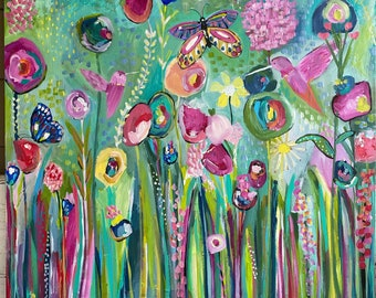 Wildflower painting,36 x 36 gallery wrapped canvas, abstract flowers, original painting,art, hummingbirds, butterflies