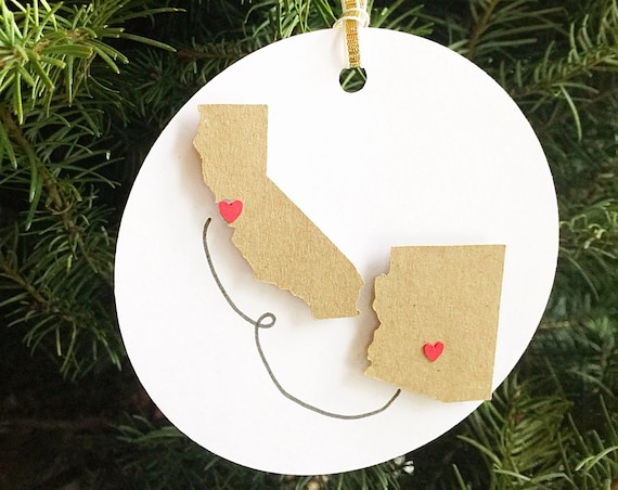 Paper Ornaments Christmas. Your States Ornaments. Holiday, Christmas Decoration. Wedding, Gift, Birthday, First Anniversary. First Christmas