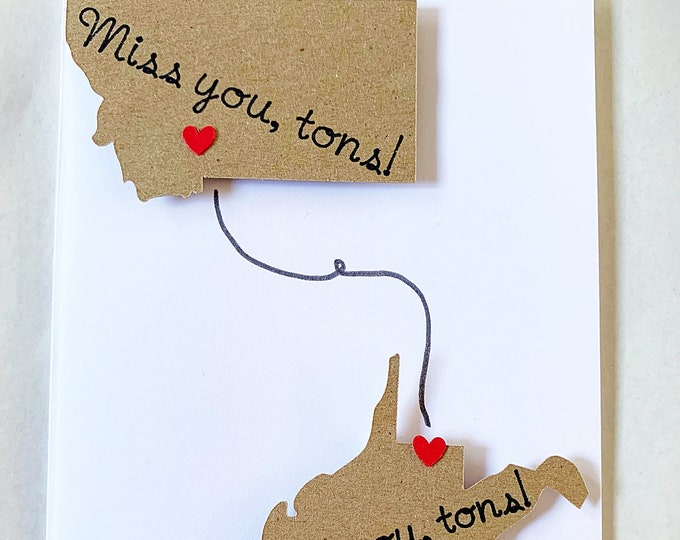 Featured listing image: Long Distance Miss You Tons Card. I Miss You Family Card. Custom Long Distance Card. Deployment Card. Imprinted States. Personalized Note