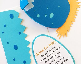 DIY Dinosaur Baby Shower Invitation Inserts. Dinosaur Book Inserts. Boy Baby Shower. Dino Bring a Book Instead of a Card. T-Rex Baby's Book