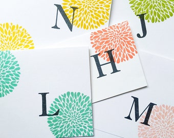 Letter cards. Hand Stamped Initial cards, Personalized Notecards. Mother Stationery Child's Initial. Gift for Mom. Grandmother Stationery