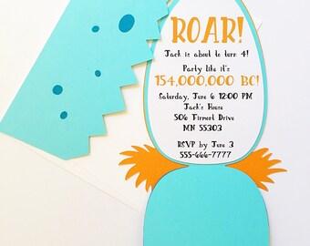 Dinosaur birthday invitation-boy birthday invitations, dinosaur invitation, DIY invitation kit, dinosaur party, first birthday boy party