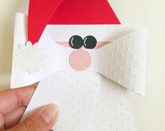 Christmas Gift Wrapping Bows. Santa Bows. Santa Gift Tags. Christmas Gift Bow. Christmas Wrapping Bow. Christmas Gift Package Bow. Set of 3