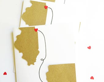 Long Distance Girlfriend Gift. Moving Into Together Gift. Heart In Two Places. Personalized State To State Cards. Romantic Gift For Her