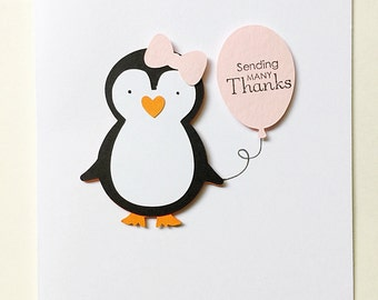 Penguin Thank You Notes. Set of 6 Penguin Party Note Cards. Personalized Stationery. Penguin Birthday. First Birthday. Winter Onederland