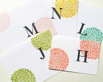 Personalized Teen Girl Gifts. Initial Note Cards. Monogrammed Card Set. Stamped Initial Gift. Letter Stationery. Colorful Hand Stamped Cards