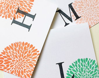 Teen Girl Gift. Personalized Note. Personalized Stationery. Initial Card Set. Hand Stamped. Letter Stationery. Monogram Card. Christmas Gift