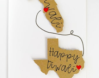 Long Distance Diwali Card. Hindu Festival Of Lights. Indian Religious Holiday Celebration. Happy Diwali. Hindu New Year Card. State To State