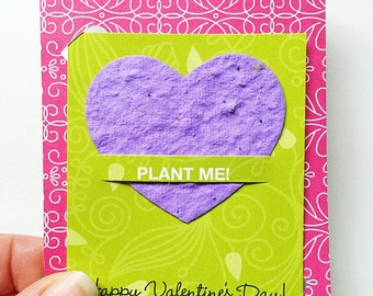 Eco friendly Valentine Set of 4. Classroom Valentine. No Candy for Food Allergies Kid. Plantable Valentine. Seed Paper Valentine. Stampin Up