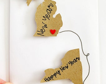 Long Distance Happy New Year Card. New Year Family Card. Custom Belated Christmas card. Lunar New Year Card. Chinese New Year. Deployment