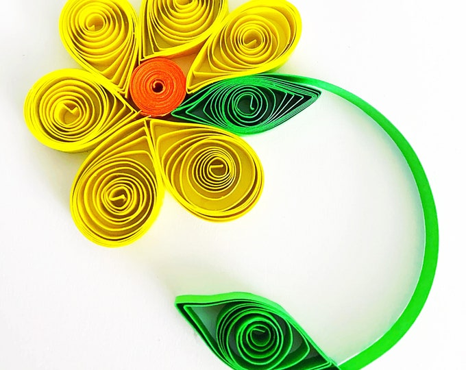 Featured listing image: Sunshine, Happy, Floral, Modern Quilling Cards. Flower Card Quilling Card. Social Distancing Happy Mail. Custom Color Quilled Stationery