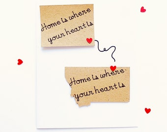Home Is Where The Heart Is Card. LDR card. Long Distance Relationship Gift. Far Away From Home Card. Social Distancing. Quarantine Card
