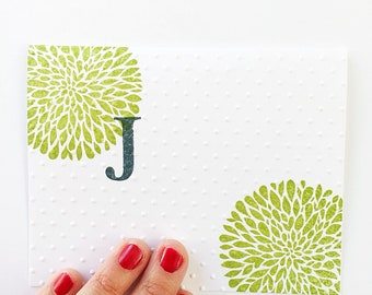 Birthday Gift For Friend. Embossed Birthday Card For Her. Custom Color Birthday Gift. Mom Gift.Dahlia Flower Personalized Initial Stationery