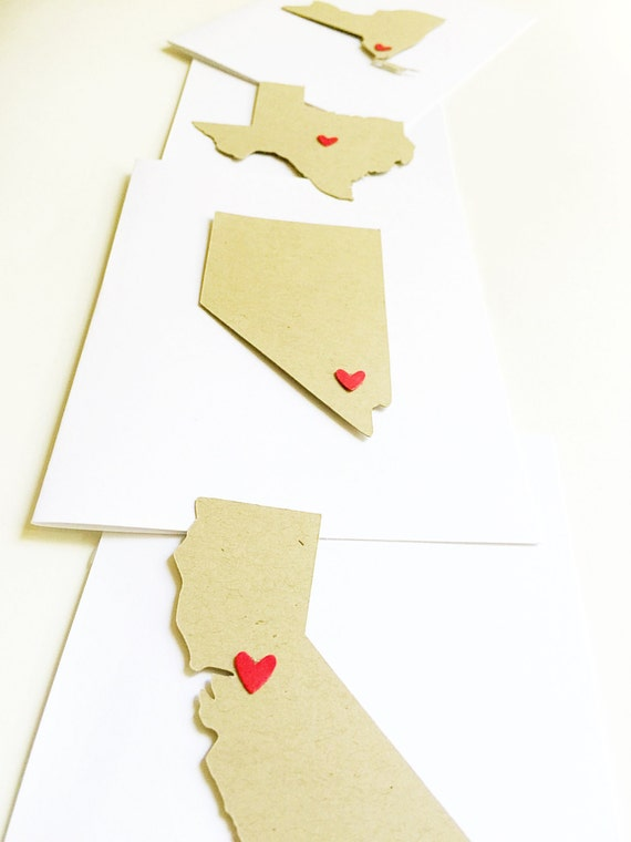 State Pride Save The Date Cards Rustic. Long Distance Wedding Shower. Destination Wedding. Travel Wedding Map. Personalized State Heart Card