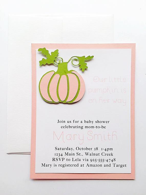 Baby Shower Invitation Girl. Pumpkin Baby Shower Invitation. Baby Shower Invite. Baby Pink Invitation. Fall Baby Girl Shower. Pink Pumpkin
