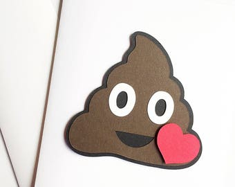 Poop Emoji Card For Him. Funny Valentines Card For Husband. Wife Card To Husband. Birthday Card For Husband. Funny Valentines Day Card