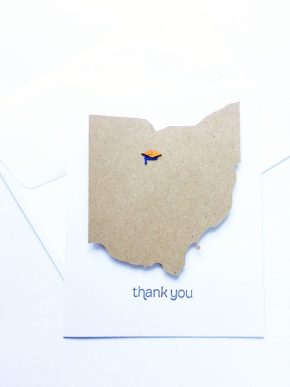 Custom Thank You Graduation Cards. State Graduation Cards. Personalized Graduation Card. School Location, School Colors Graduation Cap Cards