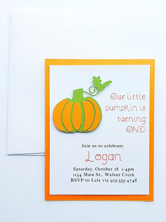 Birthday Invitation Girl. Pumpkin Birthday Invitation. Birthday Invite. Gender Neutral Birthday Invitation. Birthday Invitation Boy.