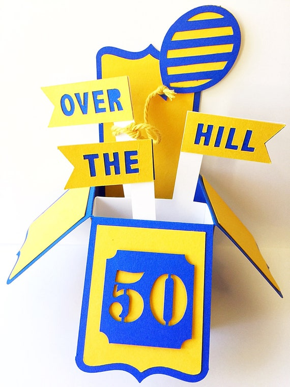 Over The Hill Birthday Card. 3D Pop Up Card. Birthday Pop Up Card. Birthday Pop Up Box Card. Unique Birthday Card. Custom, Personalized Card