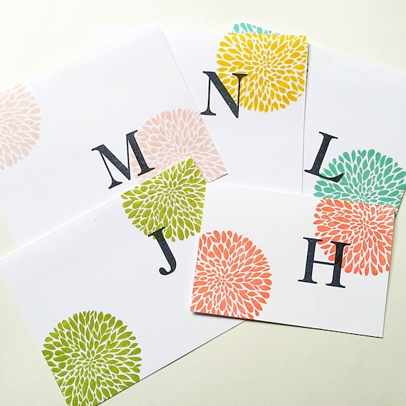 Custom Hand Stamped. Initial Notecards. Personalized Gifts for Mom under 30. Letter Stationery. Colorful Initial. Stampin Up Custom Card Set
