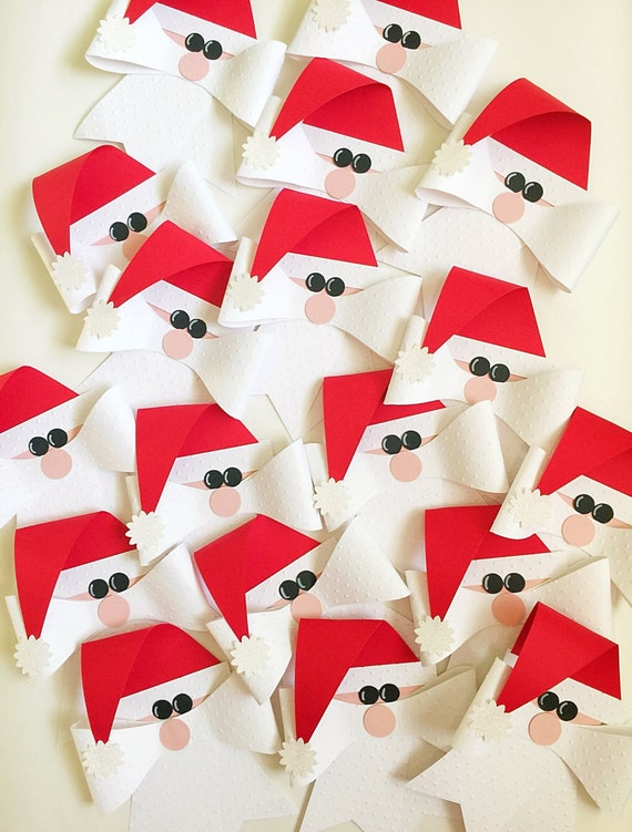 Christmas Bows Set. Set of 3. Santa Bows. Santa Gift Tags. Christmas Garland, Christmas Banner. Mantle Decor. Stocking Stuffer. Ornaments