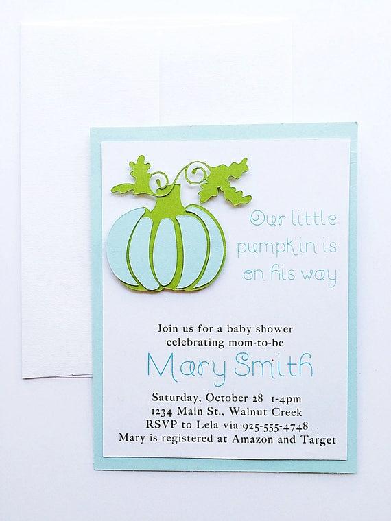 Baby Shower Invitation Boy. Pumpkin Baby Shower Invitation. Baby Shower Invite. Baby Blue Invitation. Fall Baby Boy Shower. Blue Pumpkin