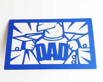 Superdad Father's Day Card. Superhero Dad Birthday Card. First Father's Day Card. Superman Daddy Notecard. Funny, Cartoon Hero, Good Daddy