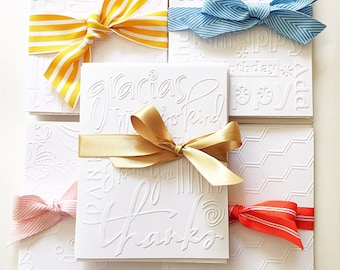 Embossed Thank You Cards. White Embossed Thank You Note Cards. Wedding Thank You Cards. Teacher Gifts. Embossed Stationery. Card Set of 6