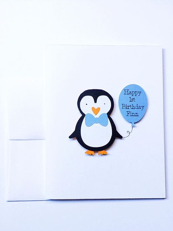 Penguin Birthday Cards. Penguin Party Invitations. Personalized Stationery. Penguin Birthday Party. First Birthday Boy. Winter Onederland