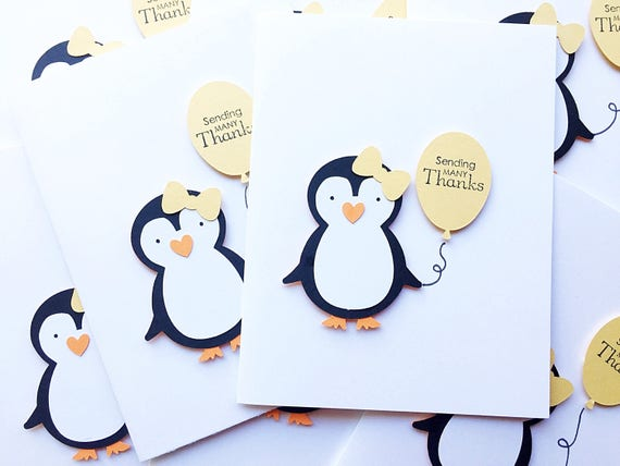 Penguin Thank You Notes. Set of 6. Penguin Party Note Cards. Personalized Stationery. Penguin Birthday. First Birthday. Winter Onederland