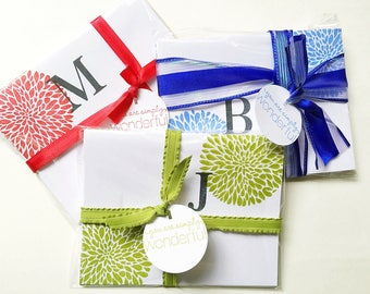 Hand Stamped Initial Stationery. Gifts for Sister. Gifts Under 30. Personalized Stationery. Initial Card. Colorful Stamped Letter Note Cards