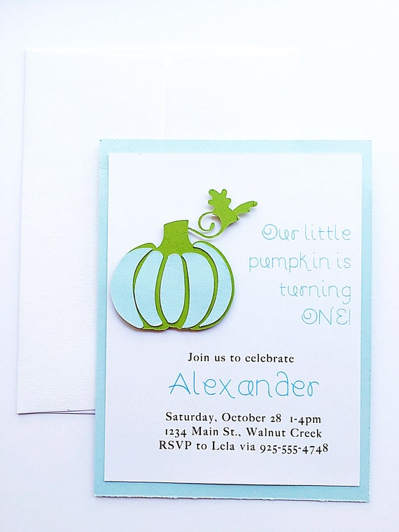 Boy Birthday Invitation. Blue Pumpkin Invitation. Pumpkin Birthday Invitation. Halloween Party. First Birthday Boy Party.Fall Birthday Party