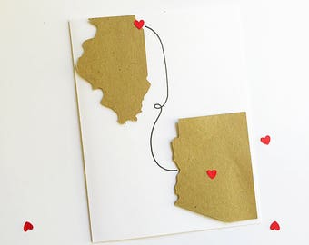 Grandma Long Distance Card. Unique Birthday Card For Grandma. Heart In Two Places. Keep In Touch. Grammie, Grandmama, Grannie, Nana Card