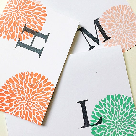 Grandma Stationery Set. Child Initial Note Cards. Mom Stationery. Stamped Cardstock Initial Cards. Personalized Stationery. Modern Stamped.