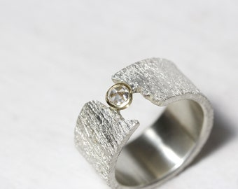 Rustic Rose-Cut Diamond Ring Wedding or Engagement Wide Textured Silver Band 14K Yellow Gold Round Bezel Bridal Setting - Brilliant Canyon