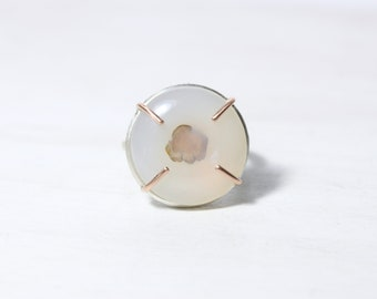 Large White Agate Statement Ring Floral Inclusion Silver 14K Rose Gold Prong Cup Setting Pink and Cream Fall Winter Accessory - Fog Flower
