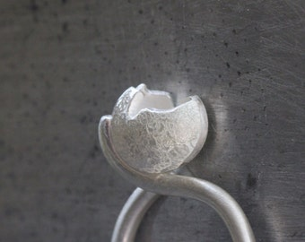 Unique Vessel Ring Sterling Silver Modern Textured Gray White Secret Compartment Sculpture Inspirational Statement Ring Design - Broken Open