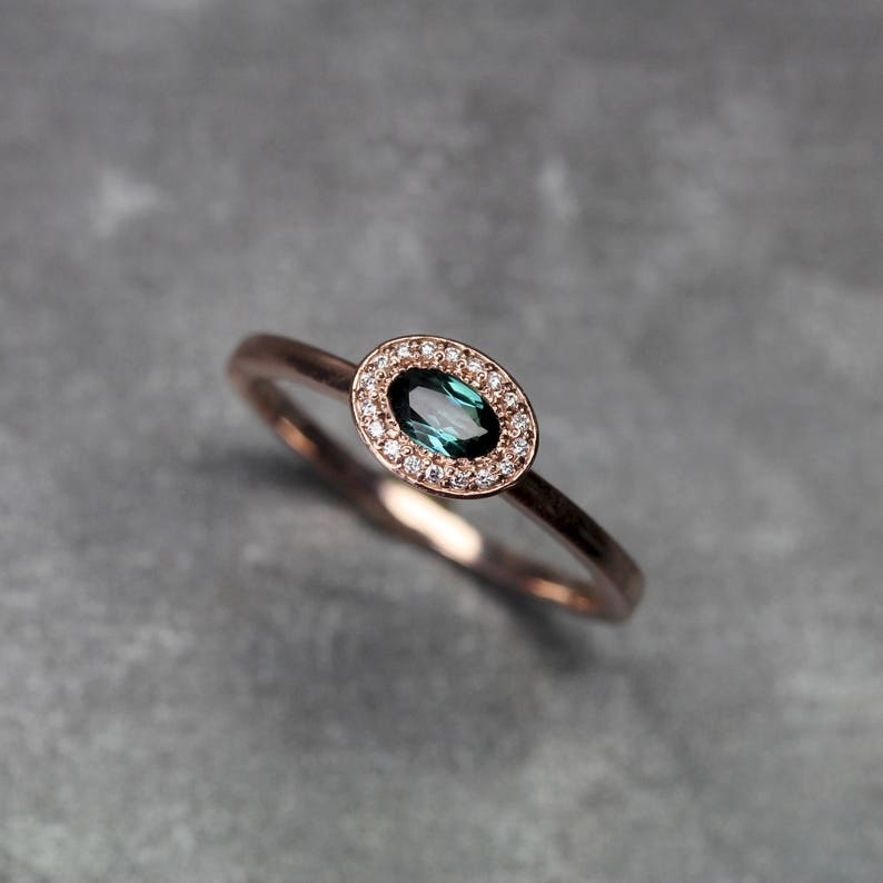 dc36c382afa85 Delicate Diamond Halo Engagement Ring Blue-Green Tourmaline 14K Rose Gold  Sparkly Sideways Oval Bridal Band Her Teal Gemstone - Mermaid Halo