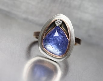 Rose Cut Tanzanite Diamond Ring 14K Rose Gold Sterling Silver Geometric Facets Unique Boho Bright Purple Blue Statement Band Her - Chamber