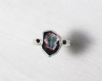 Dark Raw Watermelon Tourmaline Shield Ring Black Diamond Silver Pink Deep Green Sculptural Setting Mysterious Rough Gemstone - Gothic Crest