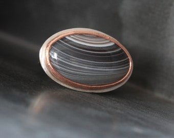 Striped Agate Silver Copper Ring Cosmic Saturn Gray Halo Loop Pattern Natural Large Gemstone Cabochon Celestial Statement Design - Phoebe