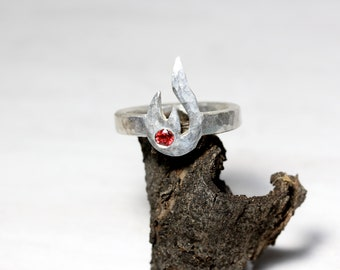 Red Padparadscha Sapphire Flame Ring Hammered Silver Bright Fire Symbol Band Solid Textured Metal Unisex Design September Birthstone - Blaze