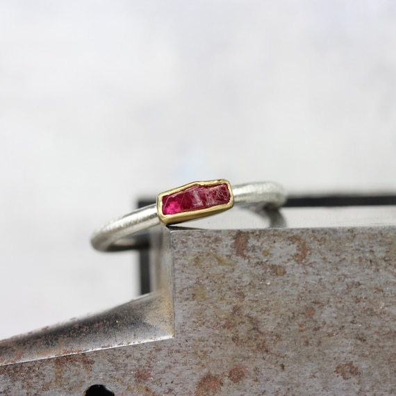 silver and gold ring simple raw silver ring