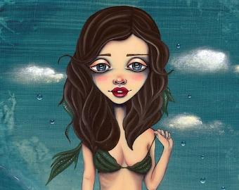 I was the Sea OC Whale Sea Glass waves Pop Surreal Original fine art Giclee Print multiple sizes